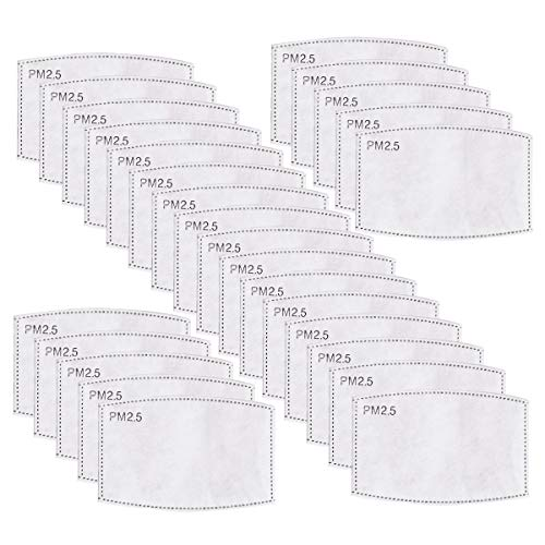 CHRISLZ 30 PCS PM2.5 Activated Carbon Filter Mouth Masks 5 Layer Protective Filter Mask Filter Replacement (WHITE)
