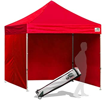 Eurmax 8x8 Feet Ez Pop up Canopy Tent, Pop-up Instant Tent, Outdoor  Canopies Commercial Gazebo with Sidewalls Bonus Roller Bag (Red)