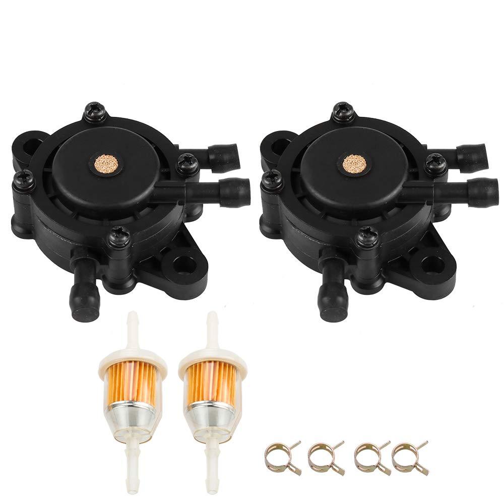 2PCS 24 393 16-S Fuel Pump w Fuel Filter for Kohler 15 393 01-S Briggs & Stratton 808656 491922 John Deree LG808656 M138498 M145667 Kawasaki 49040-7001 Lawn Mower Generator Pressure Washer