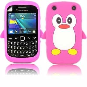 Penguin Silicona Caso Cubrir Concha Y Protector De Pantalla Para Blackberry Curve 9320 / Pink