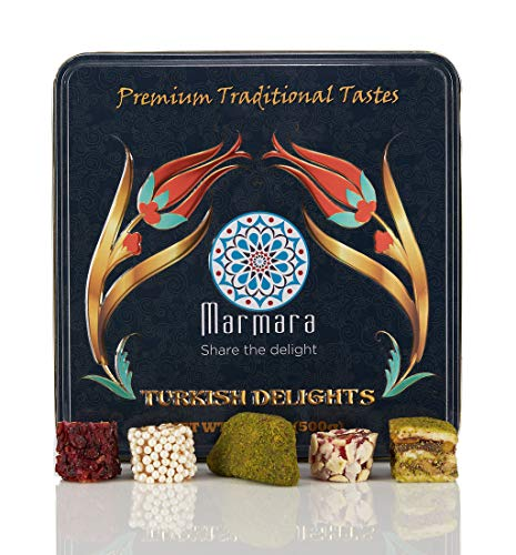 Marmara Premium Traditional Turkish Delight Variety Gift Tin Box Dessert Confectionery Barberry Pomegranate Pistachio Baklava Walnuts Crescent Cogan Flaked Almond Sweet Pearls 500 gram
