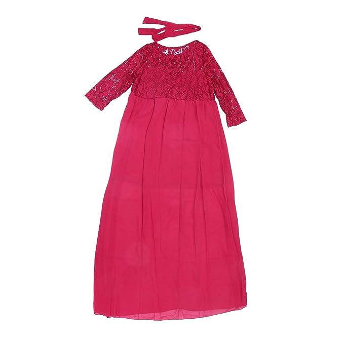 LUOEM Vestido Largo de Gasa Mujer Embarazada Encaje Costura Vestido de Maternidad Flojo XL (Rojo