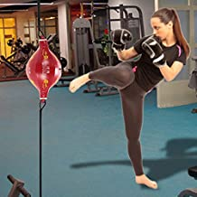 Double End Boxing Speed Ball Punching Bag Pear Inflatable Boxing Equipment BodyBuilding Fitness SpeedBalls with a Valve Core (Red)
