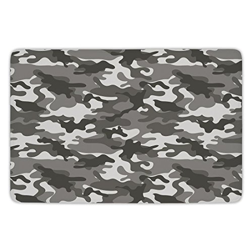 tchen Floor Mat Carpet,Camouflage,Monochrome Army Attire Pattern Camouflage inside Vegetation Military Equipment Decorative,Grey Coconut,Flannel Microfiber Non-slip Soft Absorbent ()