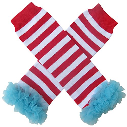 Thing 1 Costume Girl (Chiffon Ruffle Halloween Costume Spooky Styles Leg Warmers - One Size - Baby, Toddler, Girl (Thing Red & White Stripe with Blue))