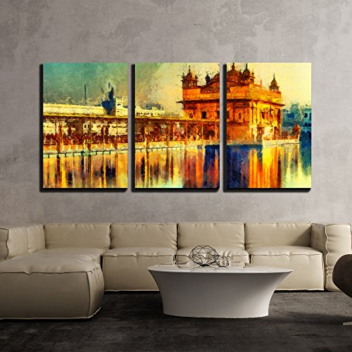 wall26 - 3 Piece Canvas Wall Art - Golden Temple at Amritsar, India - Oil Painting - Modern Home Decor Stretched and Framed Ready to Hang - 24