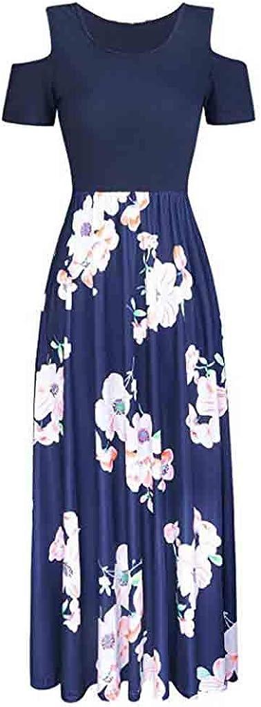 Womens Dresses Short Sleeve Cold Shoulder Pocket Floral Elegant Dress Party Holiday Beach Maxi Dress