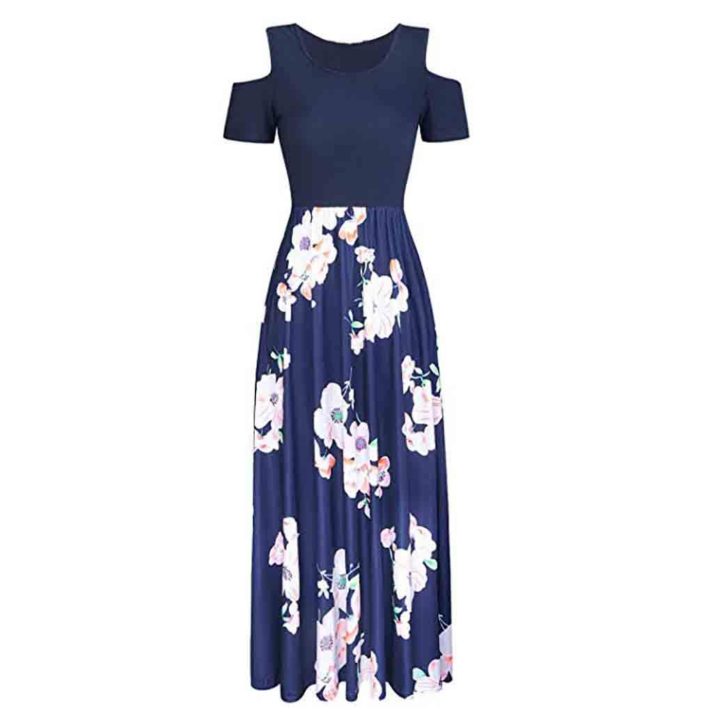 Women Cold Shoulder Vintage Maxi Dress Ladies Floral Print V-Neck Short Sleeve Smart Evening Special Occasion Summer Ceremony Wedding Elegant Long Dresses