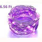 BINZET 50 LEDs 3AA Battery Operated Copper Wire String Light, 2 Meters (No Remote) , Purple
