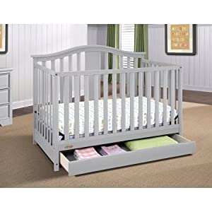 4 in 1 Convertible Crib with Drawer Pebble Gray Color, Toddler Bed, Full-size Bed, Under-Crib Storage,Baby Furniture, Drawer, Adjustable Mattress in 3 Positions, Convertible Baby Set, BONUS e-book
