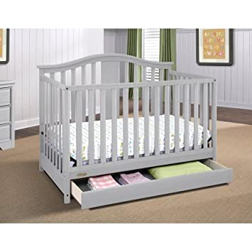 4 In 1 Convertible Crib With Drawer Pebble Gray Color, Toddler Bed, Full