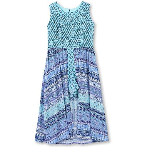 Speechless Big Girls' Smocked Bodice Walk Through Dress, Red Navy, (Tween Easter Dresses)