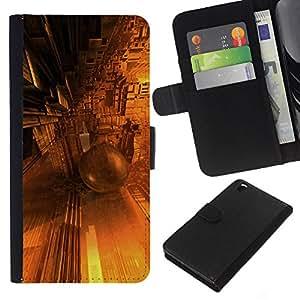 All Phone Most Case / Oferta Especial Cáscara Funda de cuero Monedero Cubierta de proteccion Caso / Wallet Case for HTC DESIRE 816 // Design Architectue Future Yellow Golden