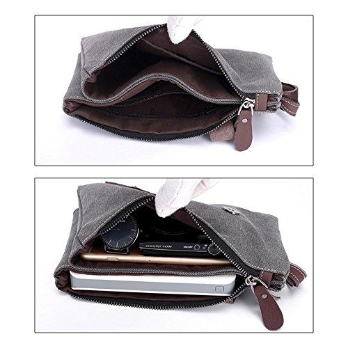 Zantec Zipper Canvas Clutch Bag mit Retro Gürtel Dekoration Handgelenk Handtaschen für Männer Grau 649SJS1
