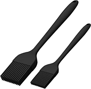 Silicone Basting Brush Set of Two Heat Resistant Long Handle Pastry Brush for Grilling, Baking, BBQ and Cooking (Black)