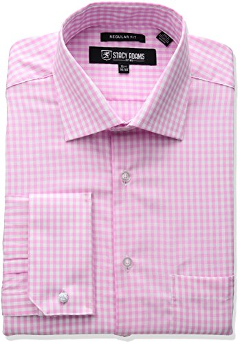 Stacy Adams Men's Gingham Check Dress Shirt, Pink, 17.5
