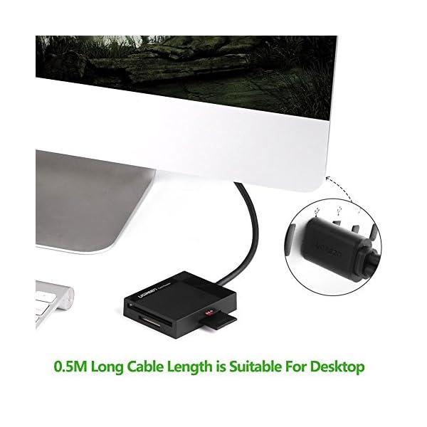UGREEN SD Card Reader USB 3.0 Card Hub Adapter 5Gbps Read 4 Cards Simultaneously CF, CFI, TF, SDXC, SDHC, SD, MMC, Micro SDXC, Micro SD, Micro SDHC, MS, UHS-I for Windows, Mac, Linux