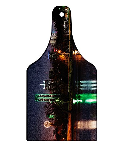 Lunarable USA Cutting Board, Dallas City Skyline Reflected in a Lake Park with Trees at Night Landscape Scenery, Decorative Tempered Glass Cutting and Serving Board, Wine Bottle Shape, Multicolor (Old City Park Christmas Dallas)