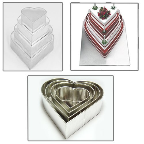 Set of 4 Tier Heart Multilayer Birthday Wedding Anniversary Cake Tins / Pans / Mould by Falcon Heart Pan Set