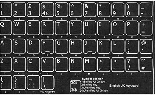 adesivitastiera. IT – Pegatinas letras teclado UK fondo negro letras blancas
