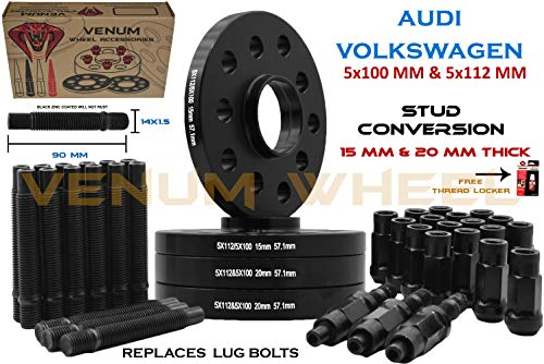 4 Pc 5x100 5x112 MM Hub Centric Wheel Spacers 15 MM & 20 MM + Stud Conversion Kit W/Black Racing Lugs | Compatible with Audi TT A3 A4 A6 A8 S4 S6 S8 Volkswagen Jetta Golf GTI R32 EOS CC Passat