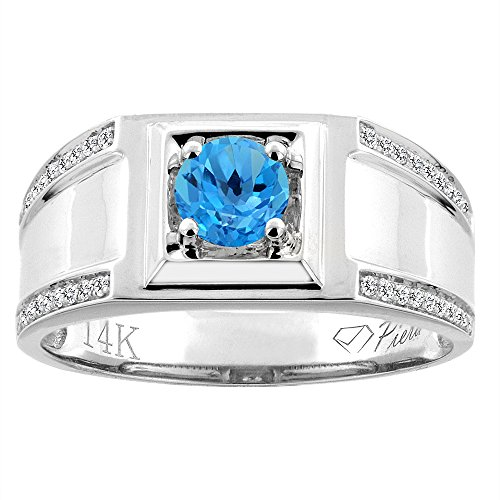 14K White Gold Natural Swiss Blue Topaz Men's Ring Diamon...