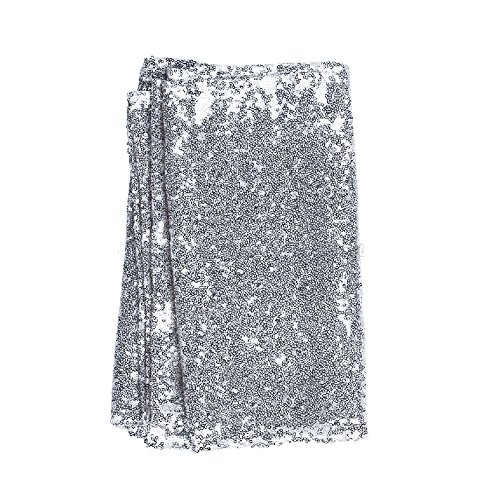 20 Silver Sequin Table Runners Sparkly Bling Wedding Party Decor 12''x118'' for event, Banquet Events, by Heaven Tvcz