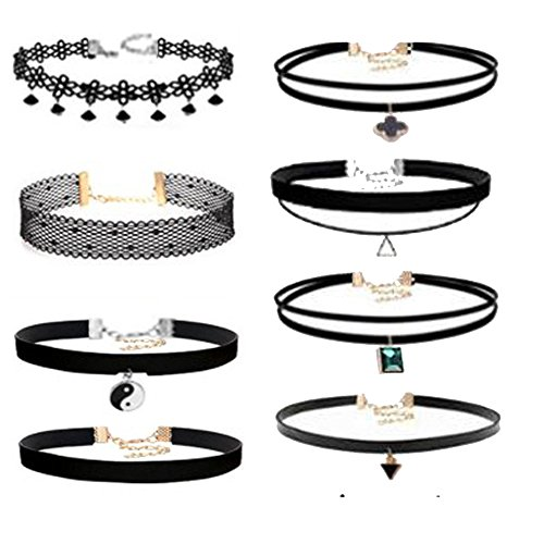 Prohouse 24 PCS Gothic Womens Rubber Pendant Necklace Chain Double Line Henna Tattoo Choker Necklace Stretch Elastic Set