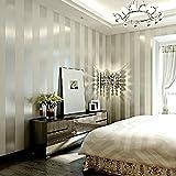 Grey & Sliver Stripe Non Woven Wallpaper for Living room Bedroom, 20.8 In*32.8 Ft=57 Sq.ft