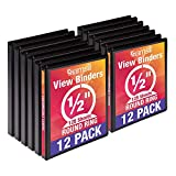 Samsill Economy 3 Ring View Binders, .5 Inch Round Ring, Customizable Clear View Cover, Black, Bulk Binders - 12 Pack