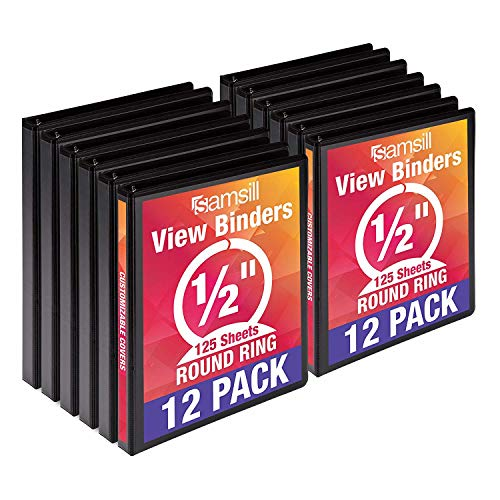 - Samsill Economy 3 Ring View Binders, .5 Inch Round Ring, Customizable Clear View Cover, Black, Bulk Binders - 12 Pack
