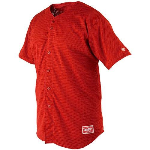 Rawlings Sporting Goods Rawlings Youth Poly Raglan Full-Button Jersey X-Large Scarlet Scarlet X-Large