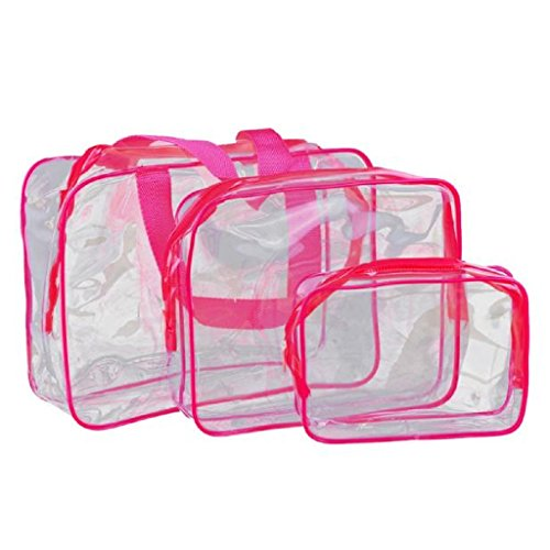 Tangram Floor (TRENDINAO Hanging Toiletry Bag for Men & Women & Children Travel Must-Transparent Materproof Pouch Cosmetic Wash Bath Supplies (Hot Pink))
