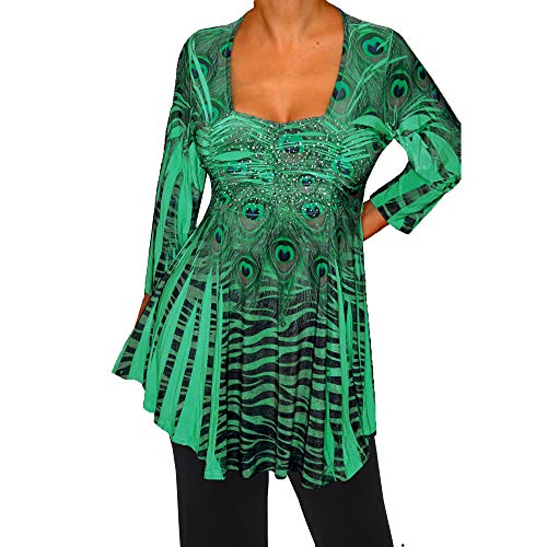 Funfash IR1 Plus Size Women Slimming Green Black Rhinestones Top Blouse Shirt 1x ()