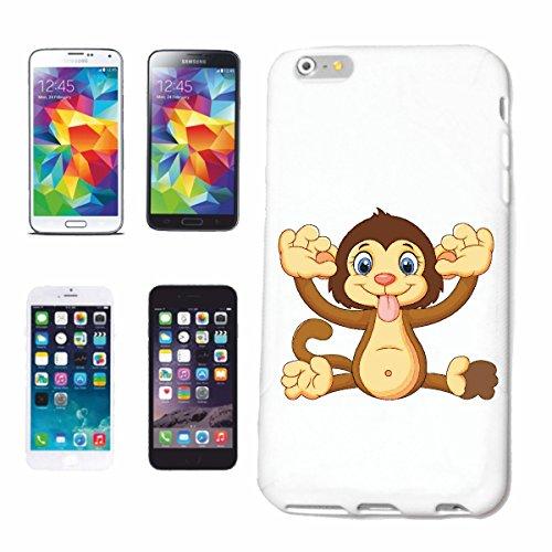 """cas de téléphone iPhone 6+ Plus """"MONKEY FAIT GRIMACES MONKEY MONKEY GORILLA CHIMP SILVER RETOUR APE CHARLY MONKEY KING KONG"""" Hard Case Cover Téléphone Covers Smart Cover pour Apple iPhone en blanc"""