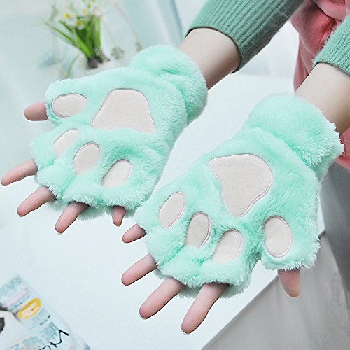 SGFY 冬 レディース 可愛いねこの足 ふわふわ 柔らかい毛 半指 手袋