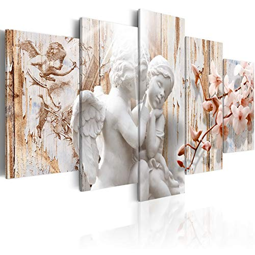Angel and Flower Canvas Print Wall Art Modern Picture 5 Pieces Giclee Artwork Framed Painting Home Decor for Bedroom Living Room Ready to Hang CL07, 20x40