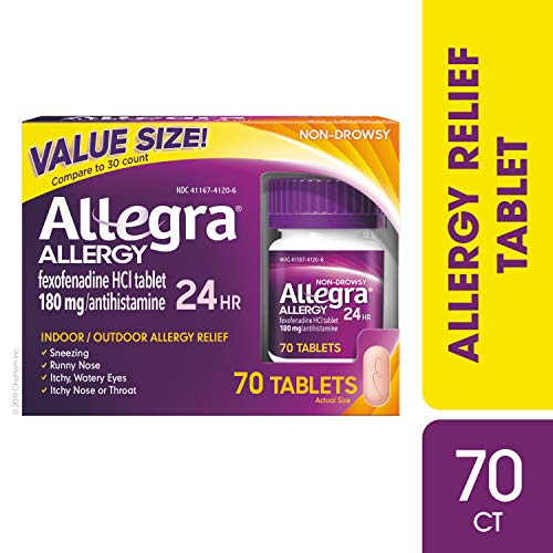 Allegra Adult 24 Hour Allergy Tablets, 70 Tablets, Long-Lasting Fast-Acting Antihistamine for Noticeable Relief from Indoor and Outdoor Allergy Symptoms (Best Otc For Runny Nose)
