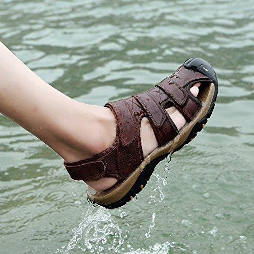 Trail Wandern Breathable und Sommer Closed Sport Strand Outdoor Kaffee Sandalen Mens Walking Toe Schuhe Ledersandalen Wx7nxaz