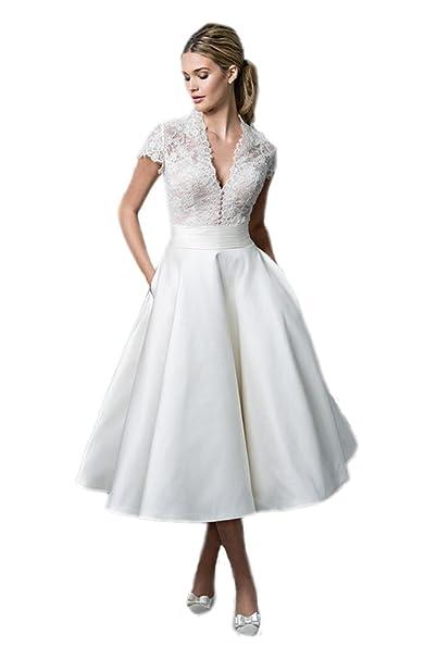 0dd46685c128 Engerla donne profondo scollo a V kappenhuelse pizzo abito da sposa corti   Amazon.it  Abbigliamento