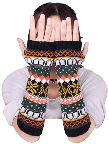 Fingerless Mitts Knit Pattern (Wool Ladies Arm Warmers Womens Long Sleeve Hand Knit Fingerless Gloves Mittens)