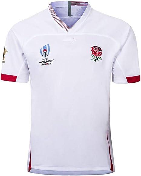 WYNBB Rugby Maillot Angleterre Domicile//ext/érieur 2019 Coupe du Monde Surv/êtements Football Soccer T-Shirt dEntra/înement Respirant Textile