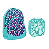 Water Resistant School Backpack and Insulated Lunch Bag Set- Teal Party Polka Dot/Teal Floral Motif