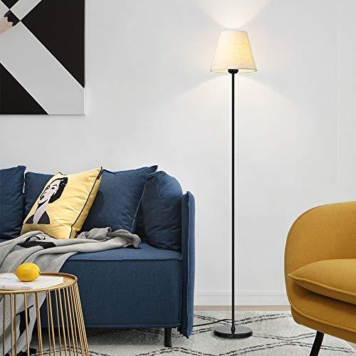 HAITRAL Modern Floor Lamp - Minimalist Tall Floor Lamp, Standing Lamp with Marble Base & Fabric Shade, Office Floor Lamp for Living Room, Bedroom, Office, Den - Black (HT-TH42-02) ()