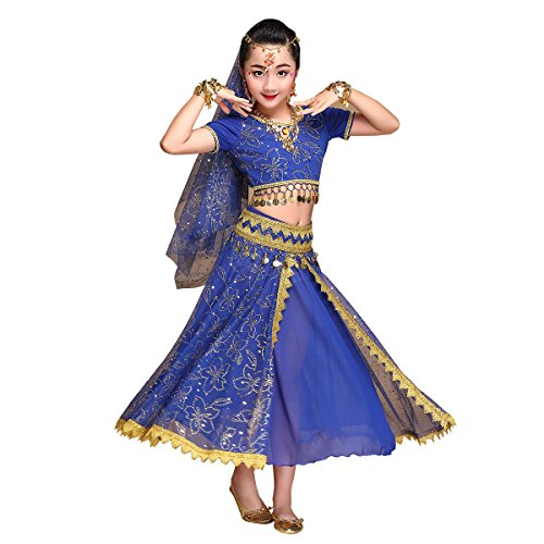 Kid's Belly Dance Chiffon Bollywood Costume Indian Dance Outfit Halloween Costumes with Coins 5 Pieces Sets(Blue, -