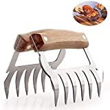Meat Shredder Claws, Stainless Steel 2-in-1 BBQ Bear Paws, Ultra-Sharp Blades Pulled Pork Shredder with Bottle Opener for Carving Food- Dishwasher Safe - 100% Food Safety + Comfort