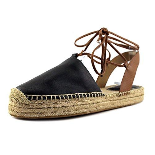 Coach Womens Rita Leather Closed Toe Casual Espadrille Sandals Black/Saddle Silky Nappa/Matte Calf
