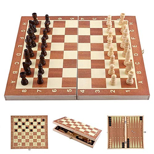 (3 in 1 Chess Set for Kids - Wooden Folding Chess Board with Storage. Chess, Checker, Backgammon, Ideal for Kids, Beginners and Adults, Portable and Easy for Travel)