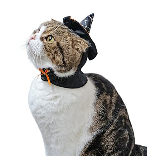 S-Lifeeling Cute Cat Costume Hooded Cloak Witch - Wizard Halloween Costume for Small Dogs & Cat Kitten -