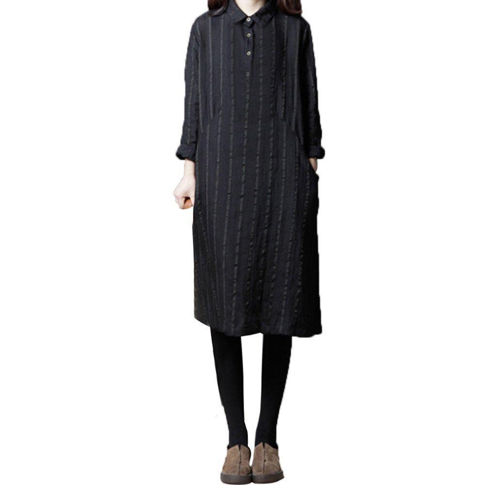 Women Casual Long Sleeve Button Striped Print Cotton Vintage Boho Loose Dress with Size Pocket (Black, L) by Shybuy Women Dress